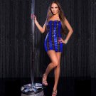 Faux Leather Halter Sleeveless Mini Dress Strapless Sexy Night Club Pole Costume ML W207972F