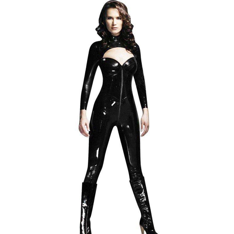 Vinyl Sexy Cutout Black Long Sleeve Catsuit Two Way Zip Costume PVC Strapless Vinyl Jumpsuit W377827