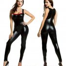Summer Full Length Skinny Jumpsuits Female Sexy Halter Sleeveless Vinyl Leather Lingerie W7908