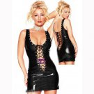 Women Summer Sexy Sleeveless Sheath Mini Dresses Lace Up Hollow Out Frenzy Clubwear Vinyl W7035