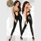 Woman Vinyl Leather steel elastic slim backless Jumpsuit bodysuit playsuit overalls W7713A