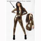 Women Leopard Print Jumpsuit Vinyl Leather Sexy Latex Catsuit Ladies Bodysuit W7951