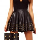 High Quality Sexy Women High Waist Leather Fashion Faux Black Skirts Vinyl Skirts With Rivet W7992