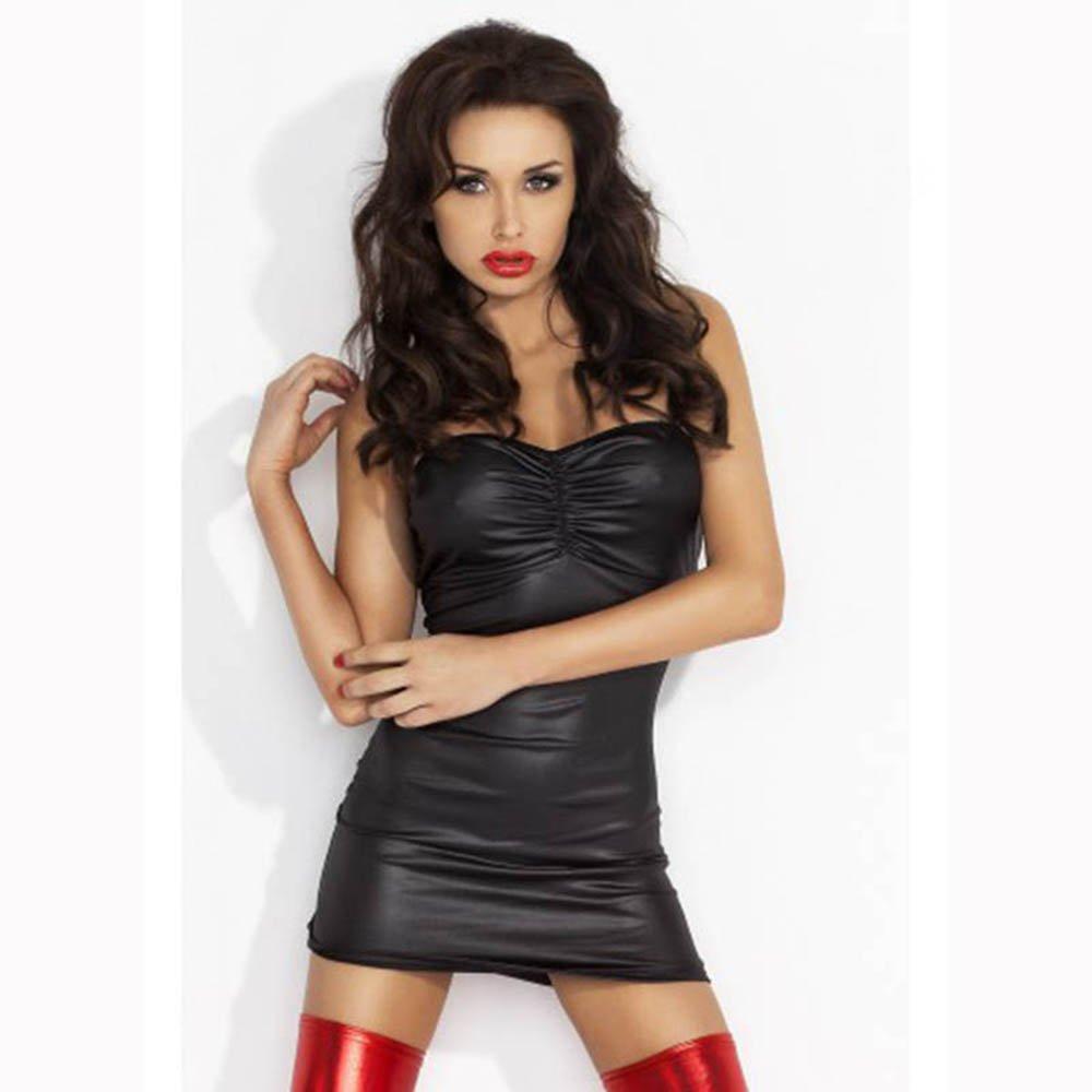 Fashion Ladies Dress Sexy Leather Dress Club Strapless Dresses Club Backless Lady W14002