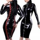Sexy Black Club wear Vinyl Wet look Long Sleeve Cut Out Faux Leather Women Midi Dress W207747
