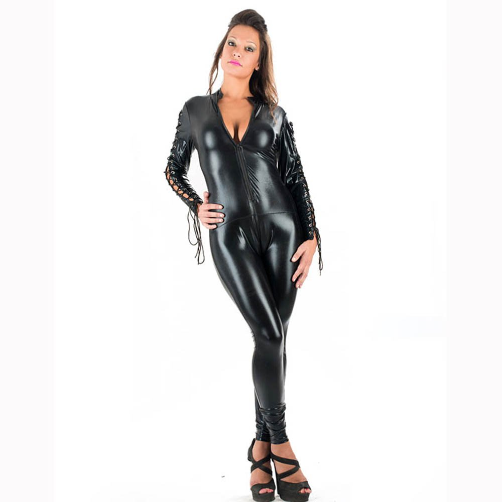 Women Full Sexy Black Jumpsuits Leather Casual Catsuit Solid Spring Autumn Jumpsuits W207940