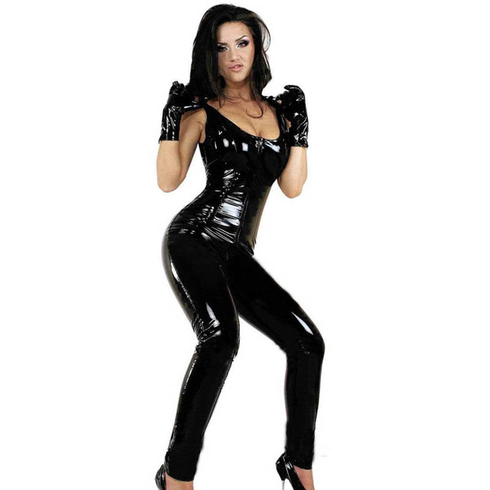 Vinyl Catsuit Sleeveless Zipper Crotch Jumpsuit Gloves Faux Leather Lingerie Catsuit W377918