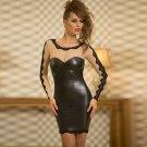 Women Sexy Leather Dress Lace Stiching Bodycon Mini Dress Long Sleeves Spring Wear Clubwear W861293