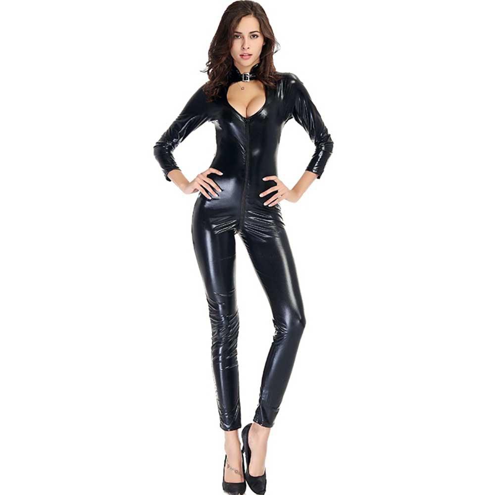 Women Zipper Bodysuits Faux Leather Jumpsuits Long Sleeves Clubwear Skinny Bodycon W880467