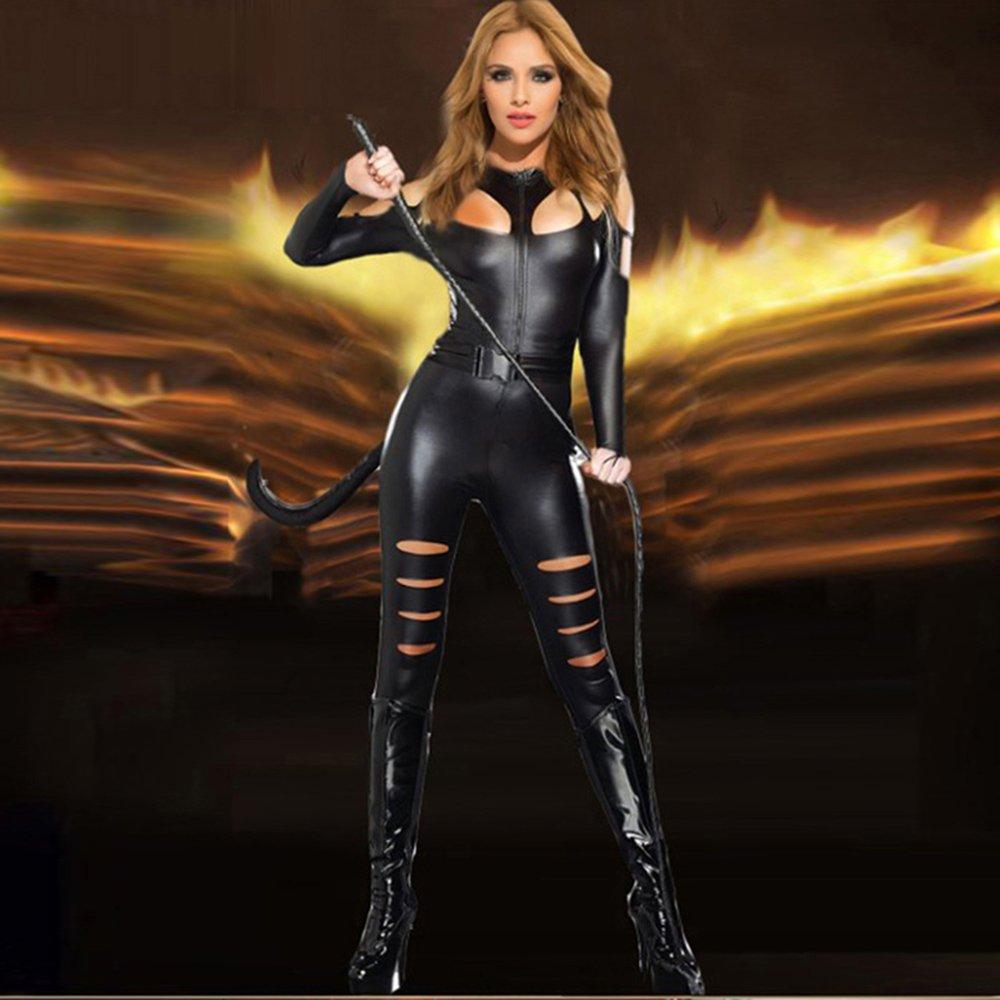 Women Faux Leather Catsuit Fetish Jumpsuit Black Cat Catsuit Sexy Catwoman Costume W880477