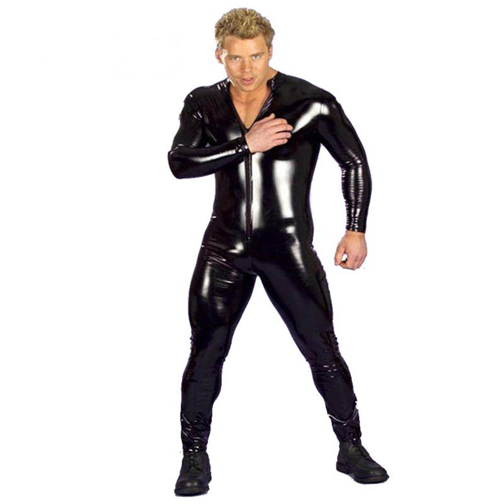 Sexy Men Latex Catsuit Faux Leather Bondage Bodysuit Unitard Fetish Costumes Erotic Lingerie W8281
