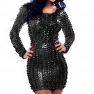 Long sleeve Dress Metallic Clubwear Role Dress with Cut-outs Club Hollow Out W373786A