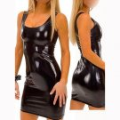 Women Black Sheath Club Mini Dresses Female Sexy O-Neck Sleeveless Shiny Vinyl Clubwear W1121
