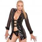 Vinyl Jacket With Buckle Front And Mesh Sleeves Lingerie Leather Tops with Buckle W841023