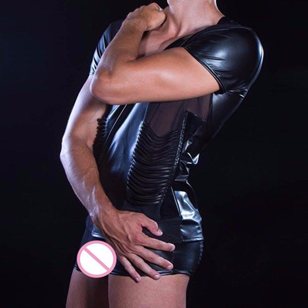 Man Black Faux Leather Sexy Vinyl Lingerie Transparent Mesh Erotic Underwear Set W850537