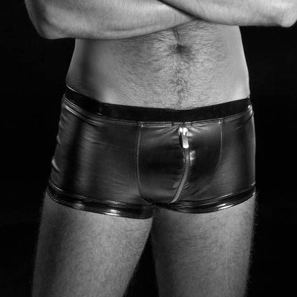 Mens Exotic Lingerie RALF Zippers Men Boxers Vinyl Underwear Lingerie Black Pants W850539