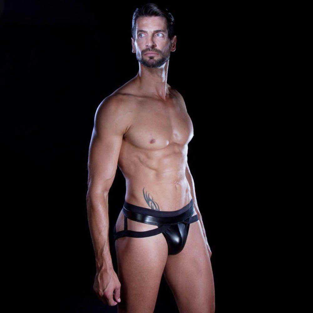 Men Lingerie Sexy Black Leather Briefs Jockstrap Erotic Cut Out Male Underwear Nightwear W850559