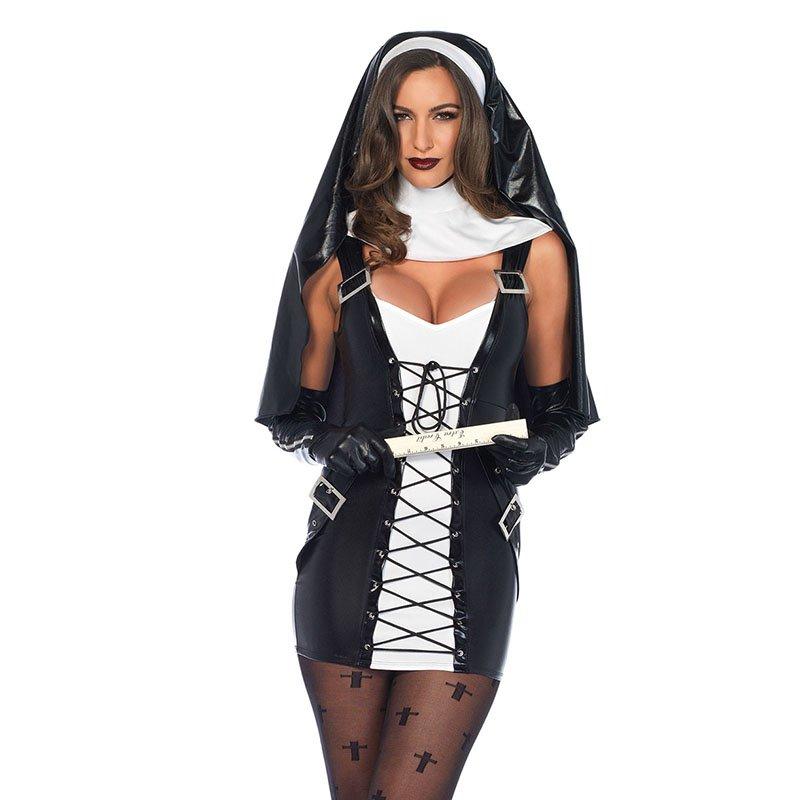 Halloween Nun Cosplay Black Women Sexy Costume Vinyl Faux Leather Mini Cosplay Buckle W870453