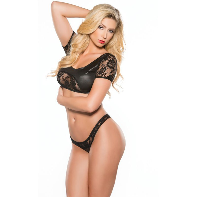 Women Sexy Lingerie Set Faux Leather See Through Lace Sleeve Square Neck Crop Top Sexy Thong W870464