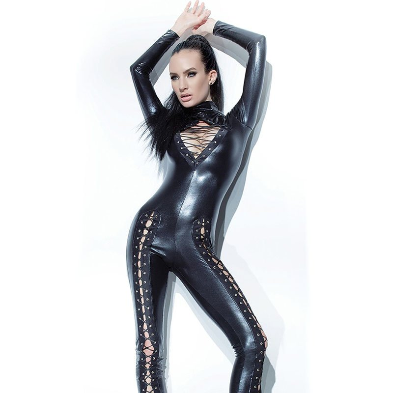 Sexy Women Latex Catsuit Zipper Back Turtleneck Shiny Fetish Laces Up Skinny Wet Look Zentai W870470