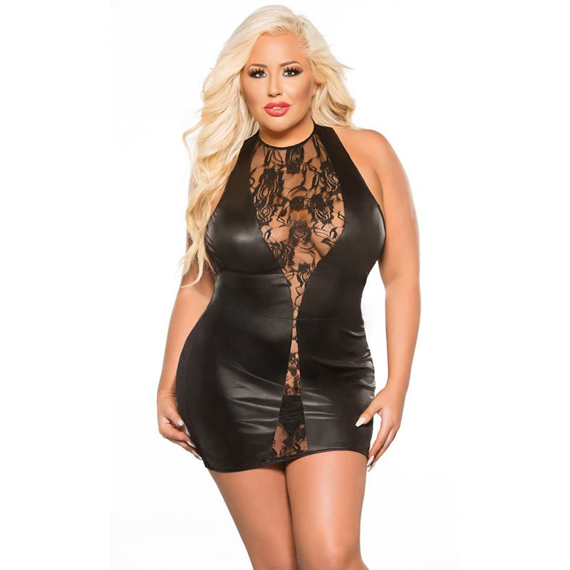 Sexy Plump Women Erotic Mini Dress Vinyl Faux Leather See Through Wet Look Baby Dolls W870472