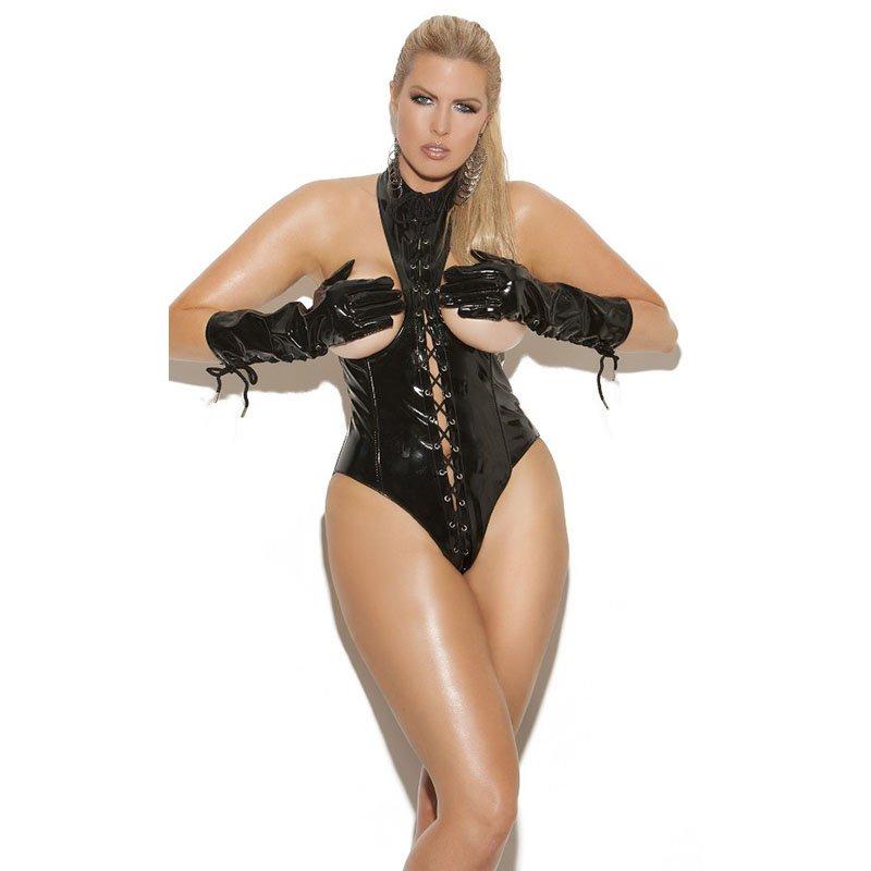 Sexy Women Lingerie Wet Look Faux Leather Zipper Back Open Bra Hip Laces Up Nightwear W870476B