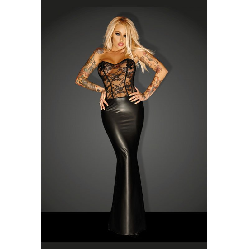 Sexy Black Faux Leather Dress Mesh Lace Floral Off Shoulder Slim Vinyl Night Club Vestido W870484