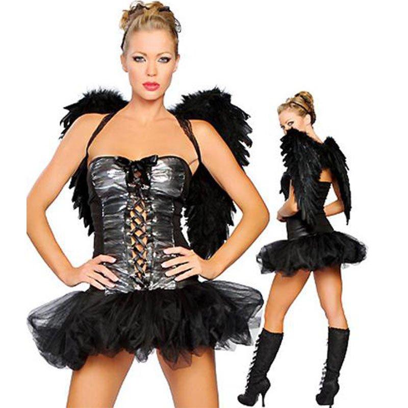Halloween Angel Costume Black Feather Dark Angel Wings Gothic Fallen Raven Delicious Dress W2609