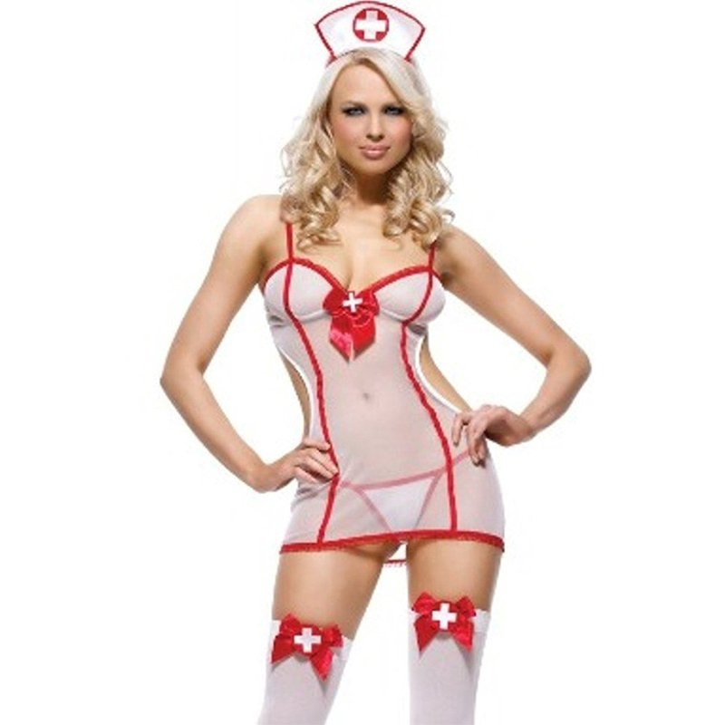 Sexy Outfit Shy Little Nurse Costume Nightshift Dress Up Costume White Fancy Dress Party W292927