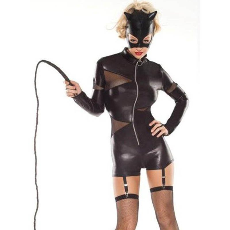 Zipper Mesh Splicing With Hat Faux Leather Costume Sexy Women's Cat Cosplay Vinyl Catsuit W407902