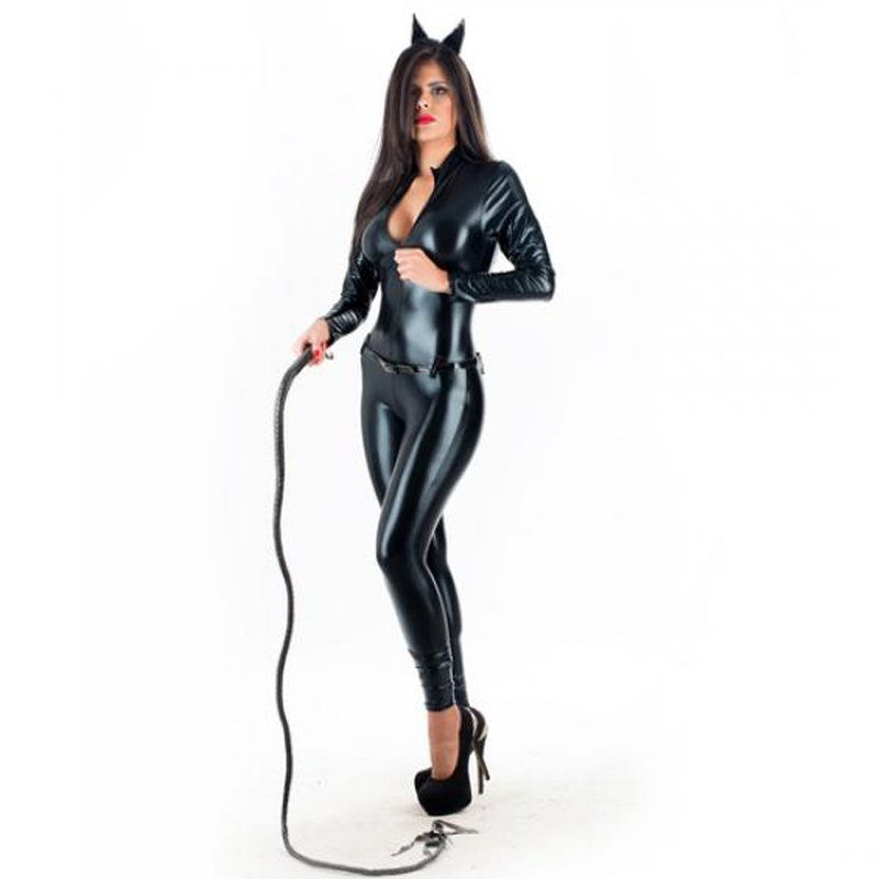 Sexy Halloween Catwoman Costume Catsuit Wet Look Latex Faux Leather Jumpsuit Bodysuit W207961