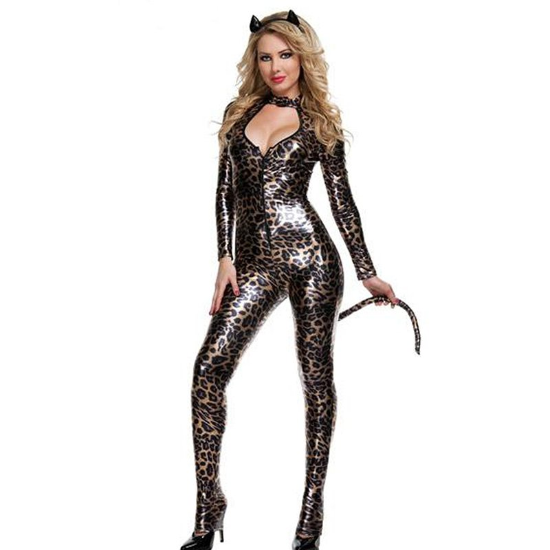 Sexy Catwoman Costume Leopard jumpsuit Catsuit Halloween Cosplay Women Bodysuit Tail W297962