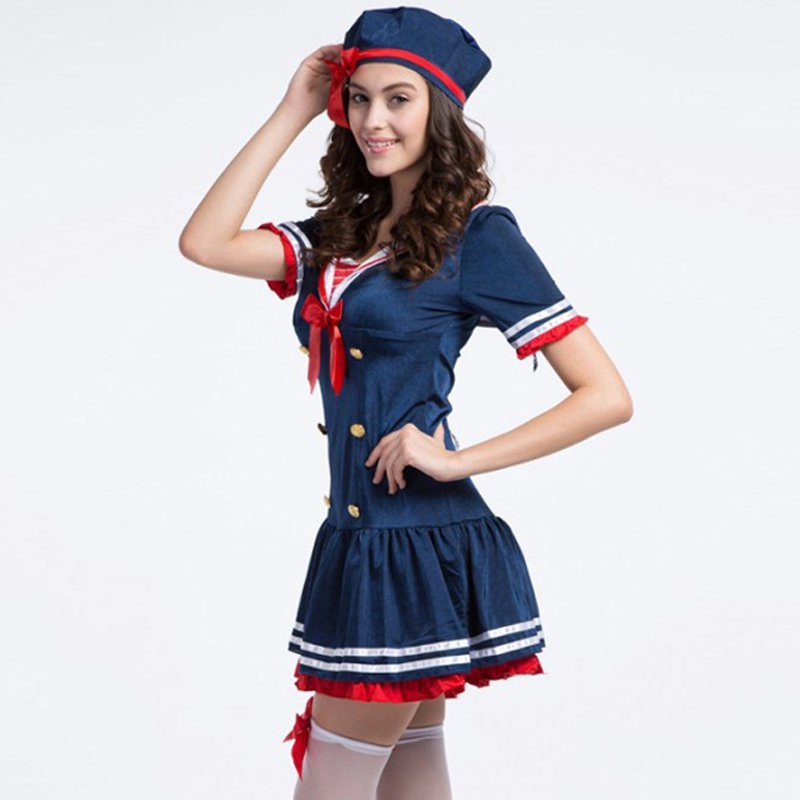 Ladies Sailor Sea Dress Costume Outfit Sexy Fashion Role Play Halloween Cosplay Costume W438049