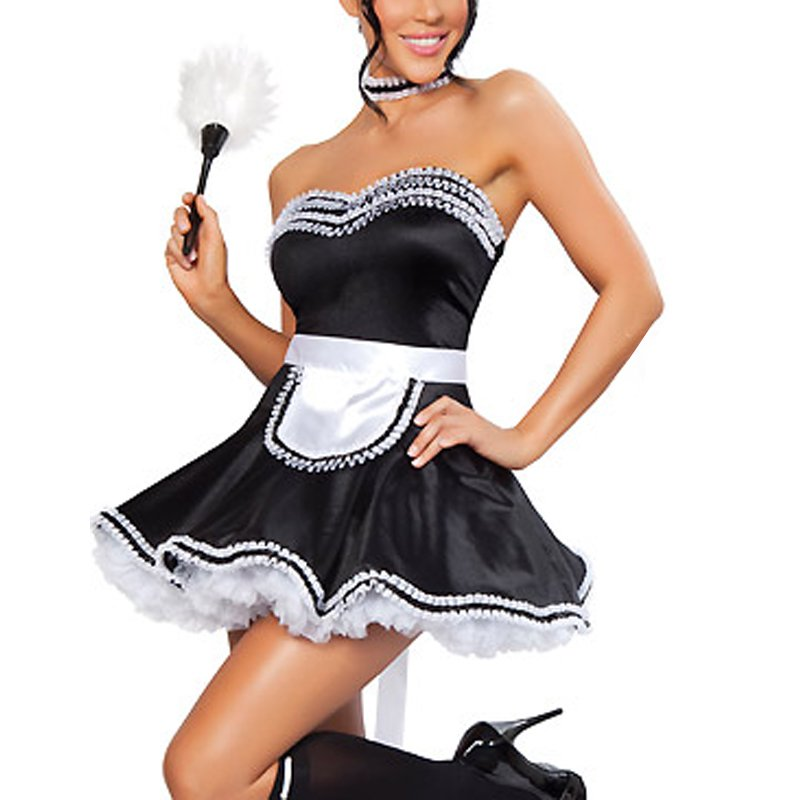 Black Cute Lace Trim Adult French Maid Cosplay Costume dress Halloween Costume W348194
