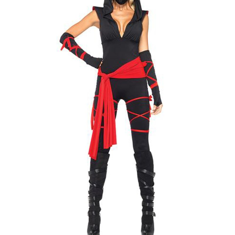 Costume Black Women's Sexy Deadly Ninja Costume Waist Sash Arm Warmers Mask Wraps Playsuit W8280
