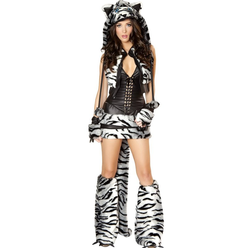 Sexy Tiger Costume Adult Animal Cosplay Halloween Disgraces Adult Fancy Dresses W438424