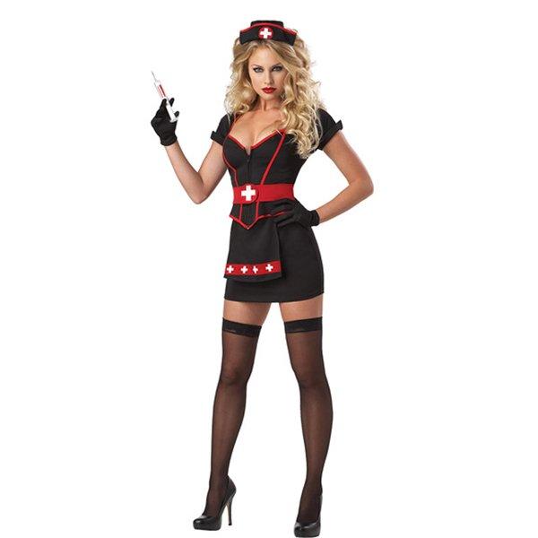Women Sexy Nurse Uniform Black Short Sleeve Dress Costume with Headwear Adult Halloween W518654