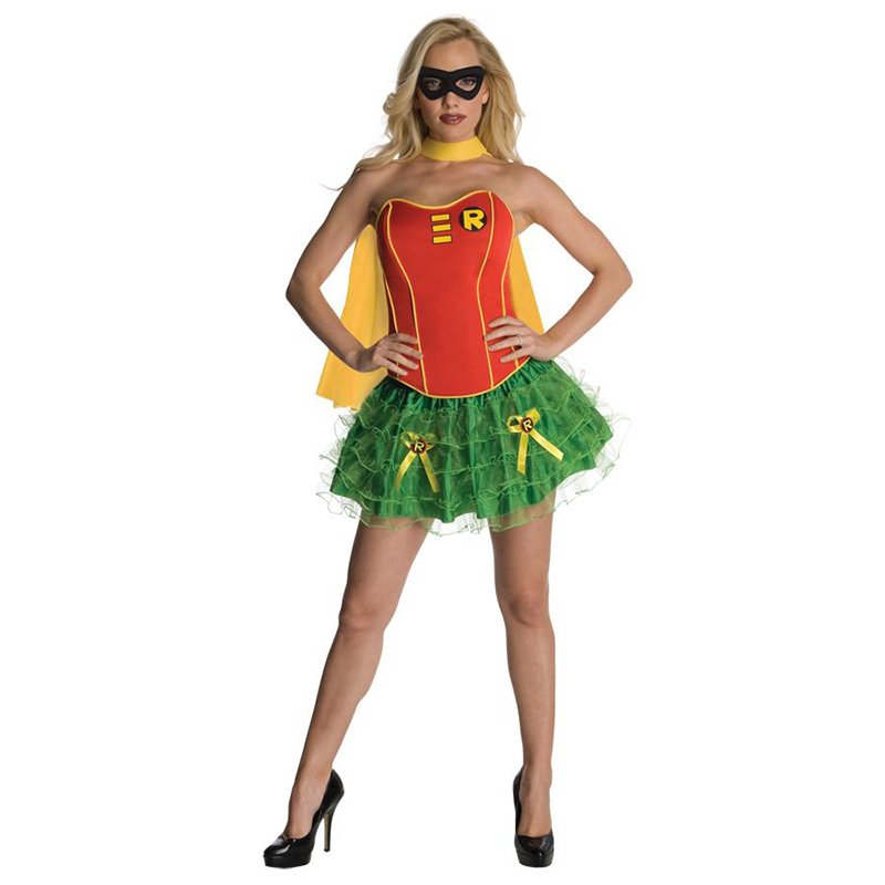 Sexy Women Superwomen Cosplay Costume Adult Strapless Mini Dress Superhero Halloween W2084314