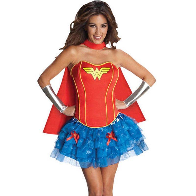 Women Supergirl Cosplay Costume Adult Strapless Mini Dress Superhero Halloween with Cloak W2084316
