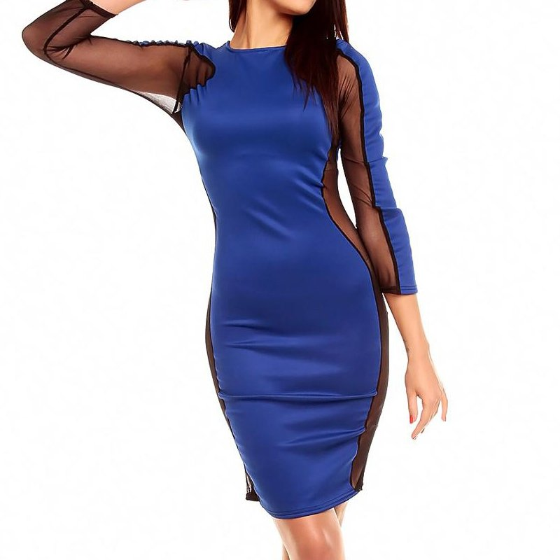 Sexy Woman Dress Autumn Dress Mesh Patchwork Elegant Pencil Bodycon Dresses Vestidos W203135C