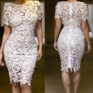 roupas femininas vestido de renda Cream White Hollow-out Lace Midi Party Dress Summer W373560A