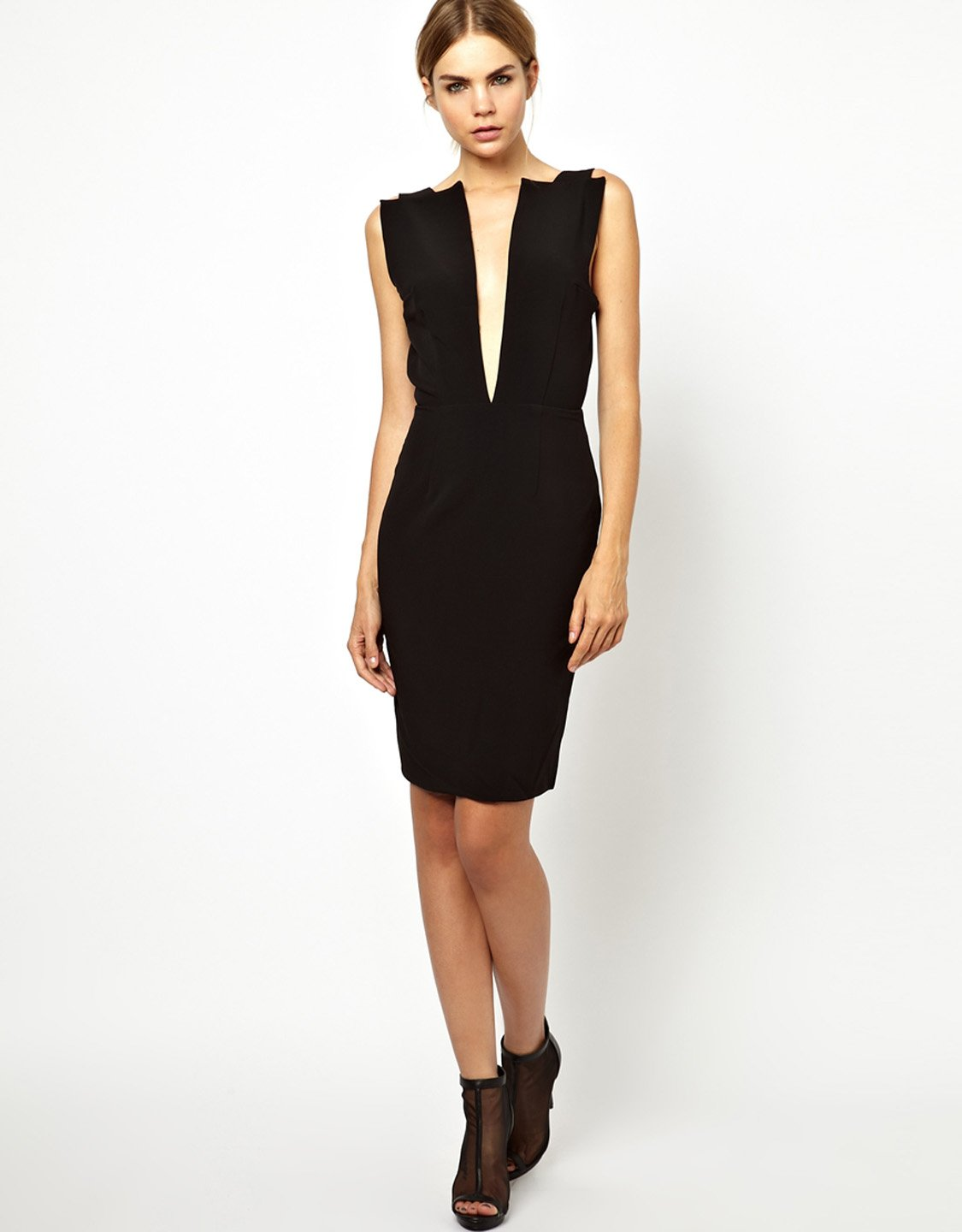 Sexy Deep V Neck Midi Black Party Club Women Summer Style Backless Party Female Dress W203702