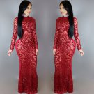 Sequin Maxi Dress Red Sexy Vintage Round Neck Long Sleeve Bodycon Club Evening Dress W126854A