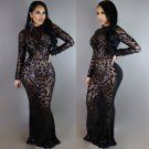 Sequin Maxi Dress Black Sexy Vintage Round Neck Long Sleeve Bodycon Club Evening Dress W126854B