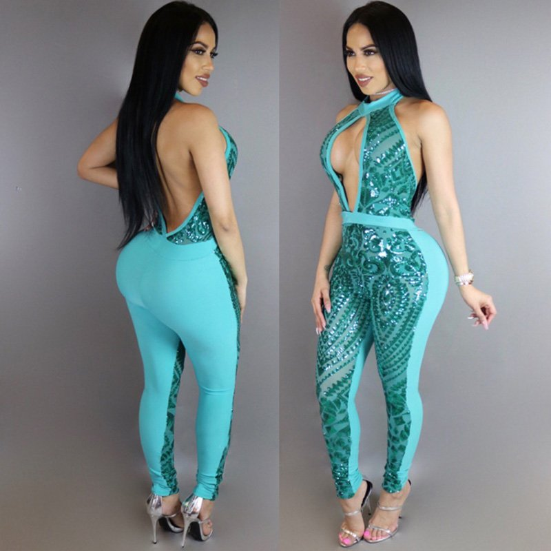 Sexy Blue Skinny Clubwear Women's Sequin Cut Out Jumpsuit Backless One Piece Bodysuit W126855B