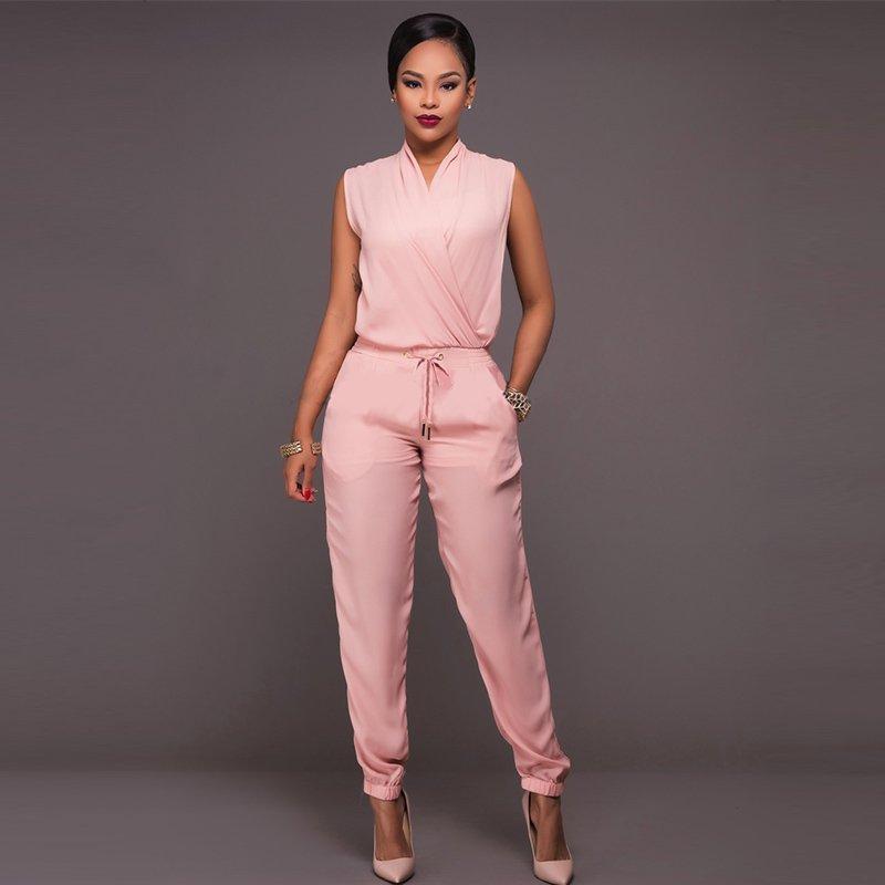 Womens Jumpsuit Elegant Tank Sleeveless Pink Regular Romer One-piece Jumpsuits W126859A