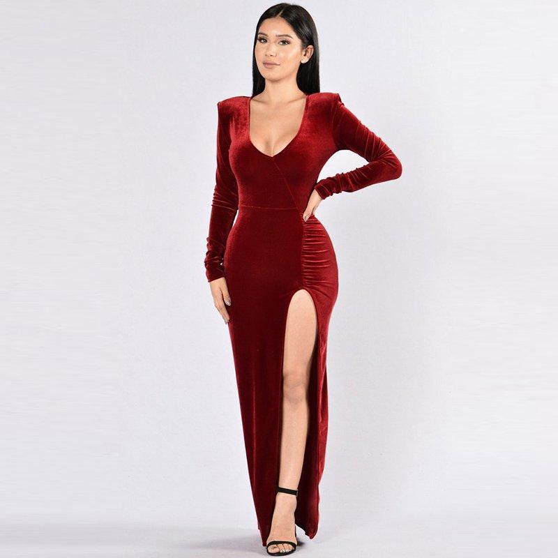 2017 Women Autumn Deep V-neck Long Sleeve Side Split Party Vintage Club Maxi Dress W126861