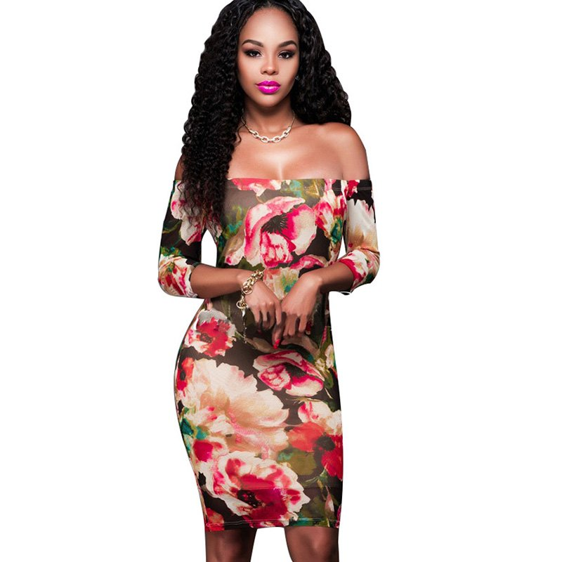 Sexy Summer Red Floral Printed Above Knee Short Sleeve Strapless Mini Bodycon Dress Women W880894A
