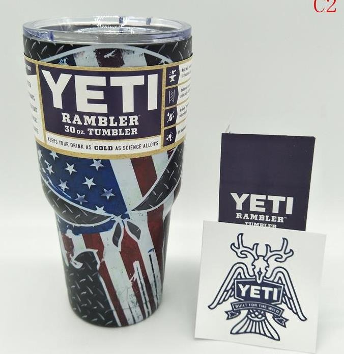 Camouflage Skull Star Today US Flag Colored YETI Rambler Tumbler 30 Oz Stainless FREE SHIPPING