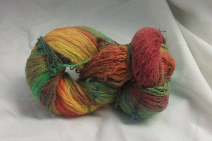Hand dyed red/green/orange/yellow recycled cotton yarn